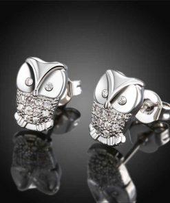 Pendientes cortos buho de zirconia imitacion diamantes