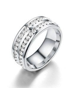 Anillo ancho de doble capa de decoración de diamantes de imitación para mujer