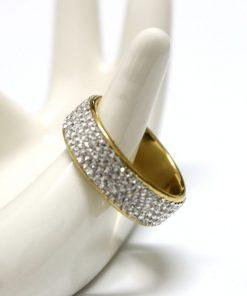 Anillo de acero con diamantes de imitación brillantes para mujer