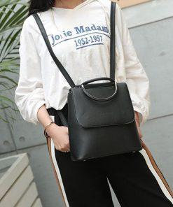 Backpack diseño de moda vintage con doble hombro, manijas de metal, estilo universitario para mujer