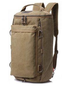 Backpack vintage de gran capacidad con forma cilíndrica