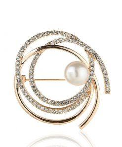 Broche con forma de círculo de diamantes de imitación para mujer