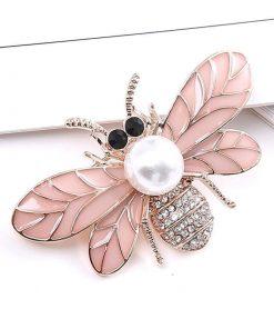 Broche con una decoración de diamantes de imitación con perlas esmaltadas para mujer