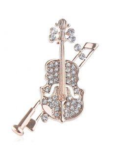 Broche en forma de violín con una decoración de diamantes para mujer