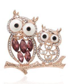 Brochecon diseño de búho con piedras preciosas para mujer
