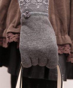 Guantes de invierno con diseño de flores de encaje para mujer