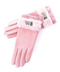 Guantes esponjosos con diseño de peluche para mujer
