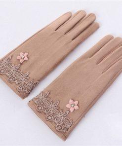 Guantes estilo romántico para mujer con diseño de encaje y flor