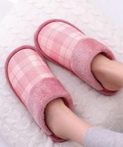 Pantuflas de algodón de punta redonda para mujer