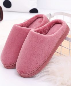 Pantuflas de algodón de terciopelo de color liso para mujer