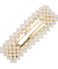 Pinza de pelo de aleación de forma geométrica de perlas de imitación
