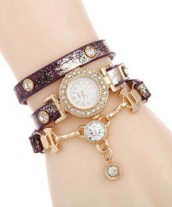 Reloj de pulsera con múltiples capas para mujer
