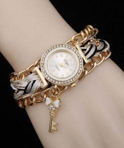 Reloj de pulsera trenzada artesanal para mujer