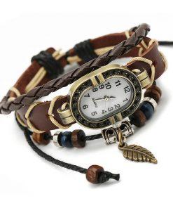 Reloj de pulsera unisex con cuentas de madera  y cuero