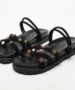 Sandalias con diseño de cruzado superior con patrón de estrellas doradas para mujer