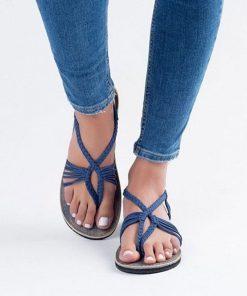 Sandalias con tiras de tela de algodón y diseño de trenza