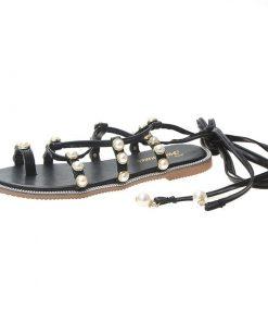 Sandalias planas con cordones cruzados y perlas con diseño de gladiador