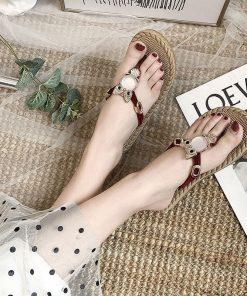 Sandalias planas con diseño de búho para mujer