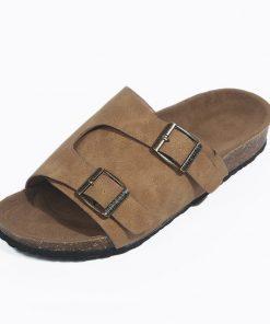Sandalias planas con diseño de hebilla doble de metal