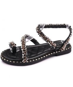 Sandalias planas con imitación de diamantes y diseño de anillo