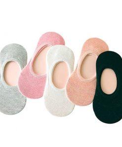 Calcetines antiderrapantes de algodón de color liso para mujer set de 3 pares