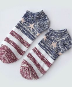 Calcetines casuales de algodón con diseño de motivo de la bandera de USA