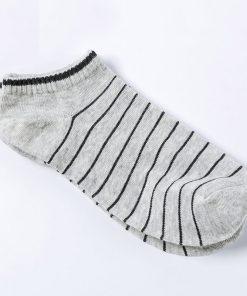 Calcetines casuales de algodón con diseño de rayas finas