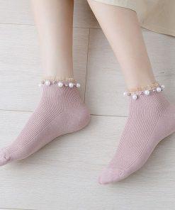 Calcetines con decoración de imitación de perlas set de 10 pares