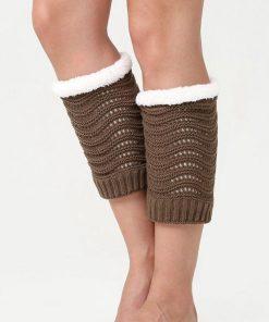 Calentadores de pierna con forro de lana y tejido de punto