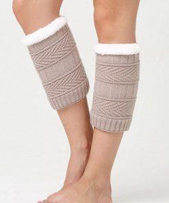 Calentadores de pierna con tejido de punto con diseño de grecas y forro de lana de color sólido de invierno