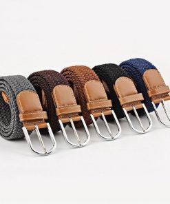 Cinturón de hebilla elástica de alta calidad con patrón casual de tejido clásico