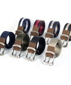 Cinturón de lona casual con hebilla plateada sujetada con tela imitación piel