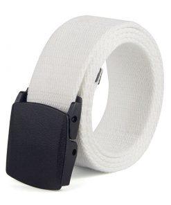 Cinturón de lona con hebilla de alta calidad no metálica de estilo casual