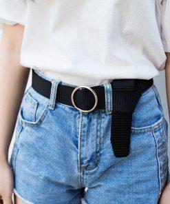 Cinturón de lona de color sólido duradero con hebilla redonda