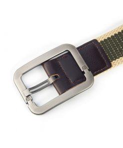 Cinturón de lona de hebilla cuadrada diseño de franja gruesa de 2 colores