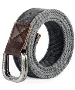 Cinturón de lona duradero de hebilla cuadrada de doble de aleación de plata