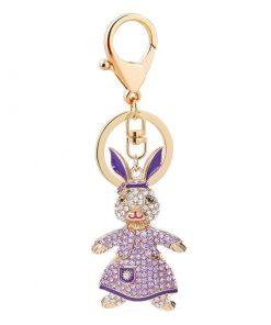 Llavero con un diseño creativo de conejocon diamantes de imitación