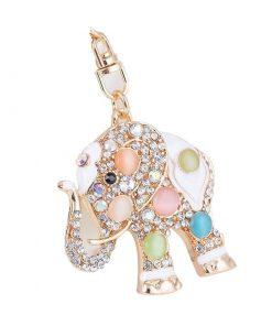 Llavero en forma de elefante con diamantes de imitación