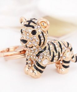 Llavero en forma de tigre con diamantes de imitación para mujer