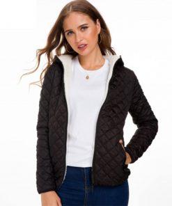 Abrigo acolchado de algodón con capucha y cremallera de color sólido casual para mujer