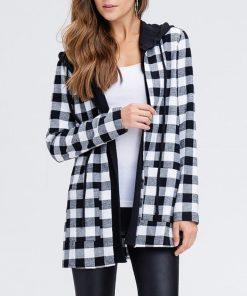 Abrigo casual de manga larga con diseño de cuadros clásicos