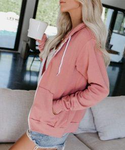 Abrigo con capucha y cremallera con cordón de color liso para mujer
