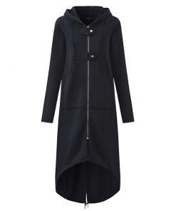 Abrigo con capucha y cremallera con patrón de longitud larga casual para mujer