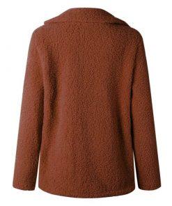 Abrigo de felpa de cuello de solapa para invierno