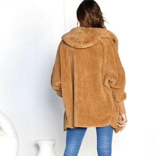 Abrigo de felpa estilo casual con capucha