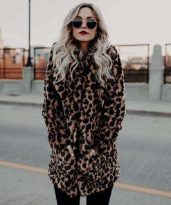 Abrigo de peluche con estampado de leopardo para mujer