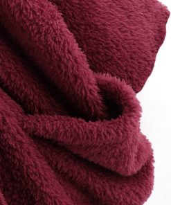 Abrigo de peluche suelto de manga larga en color liso para mujer