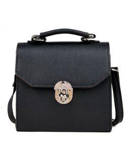 Bolsa de Moda Retro Mini tipo cuero color sólido con hebilla y cerradura