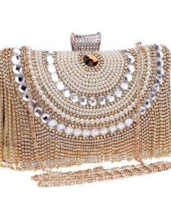 Bolsa de noche de cristal brillante de lujo con borlas de diamantes de imitación para mujer