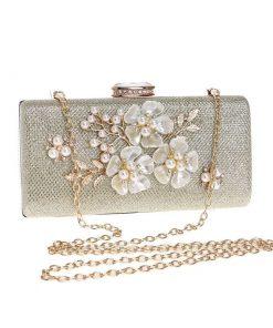 Bolsa de noche de lujo creativo de imitación de perlas de diseño de flores